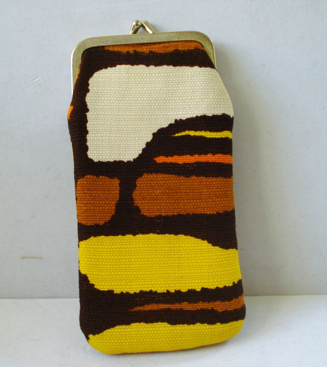 Bold mod fabric eyeglasses case padded satin lined pre-owned ll3204