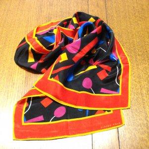 Elaine Gold long silk scarf modern art primary colors vintage ll3234