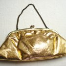 Gold leatherette clutch evening bag with wrist strap vintage ll3238