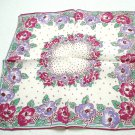 Floral printed vintage hanky or pocket puff lavender green red silky ll3242