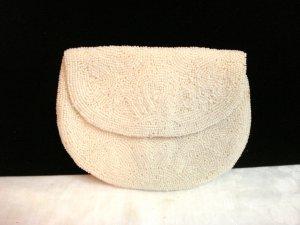Antique white beaded evening bag purse original box sales receipt John Wanamaker ll3250