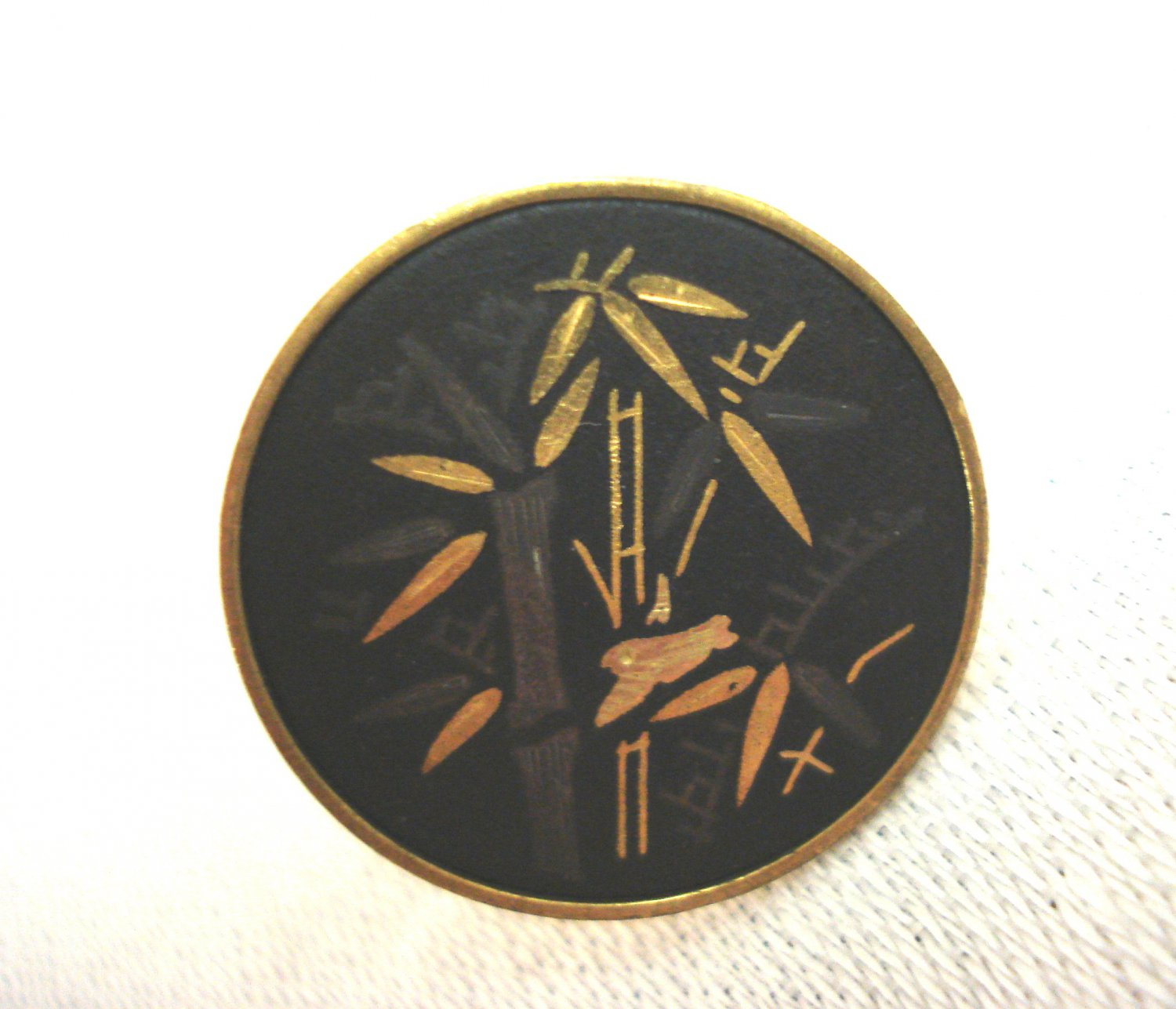 Gold and black bamboo flat disc earrings signed Amita Japan Damascene technique screwback  ll3267