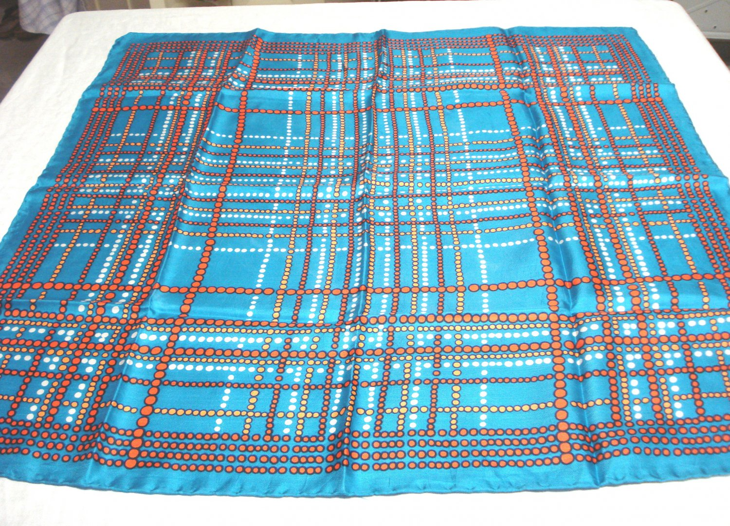 Lines of dots square silk scarf turquoise rolled hem Italy vintage ll3279