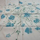 Baby blue and turquoise silk scarf square flowers vintage ll3290