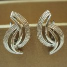 Coro silvertone arcs earrings screwbacks crescents vintage ll3292