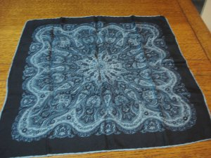 Blue paisley silk scarf square rose window gray olive vintage ll3293