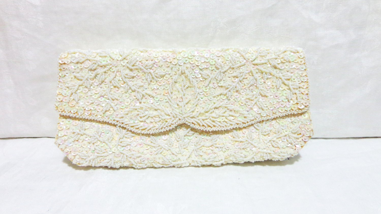 La Regale evening bag white satin beads sequins hand made bridal vintage ll3295