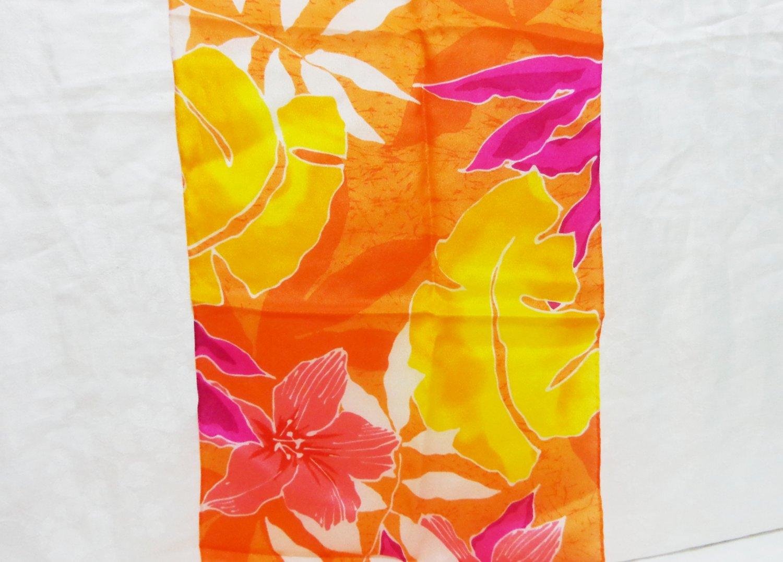 Liz Claiborne long silk scarf orange, fuschia, yellow tropical foliage vintage ll3297