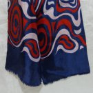 Hudson's Bay Co. double thick long silk scarf navy red white acetate vintage VG ll3311