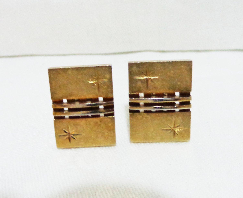 Unisex gold tone cufflinks mid century starburst vintage ll3317