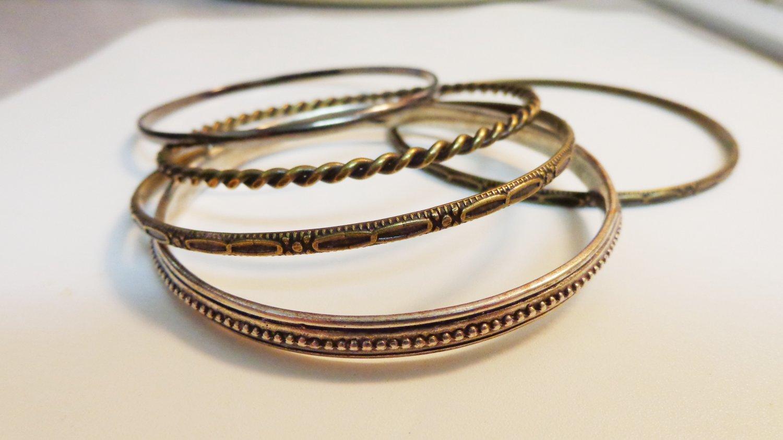 Lot of 5 stacking bangle bracelets bronze silver pewter vintage ll3314