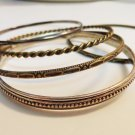 Lot of 5 stacking bangle bracelets bronze silver pewter vintage ll3314