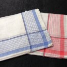 2 Linen ladies hankies classic striped border blue rose vintage ll3334