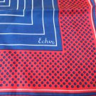 Echo red white blue silk scarf polka dots pin stripes 22 inches square rolled hem vintage ll3340