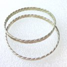 Pair of flat braid alpaco silver bangle bracelets Mexico vintage ll3348