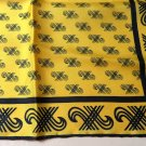 Golden yellow square silk scarf black print 27 in. vintage ll3350