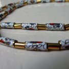 Cloisonne tube bead necklace gold tone spacers barrel clasp vintage ll3352