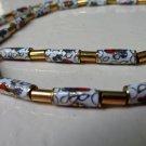 Cloisonne tube bead necklace gold tone spacers barrel clasp vintage ll3352