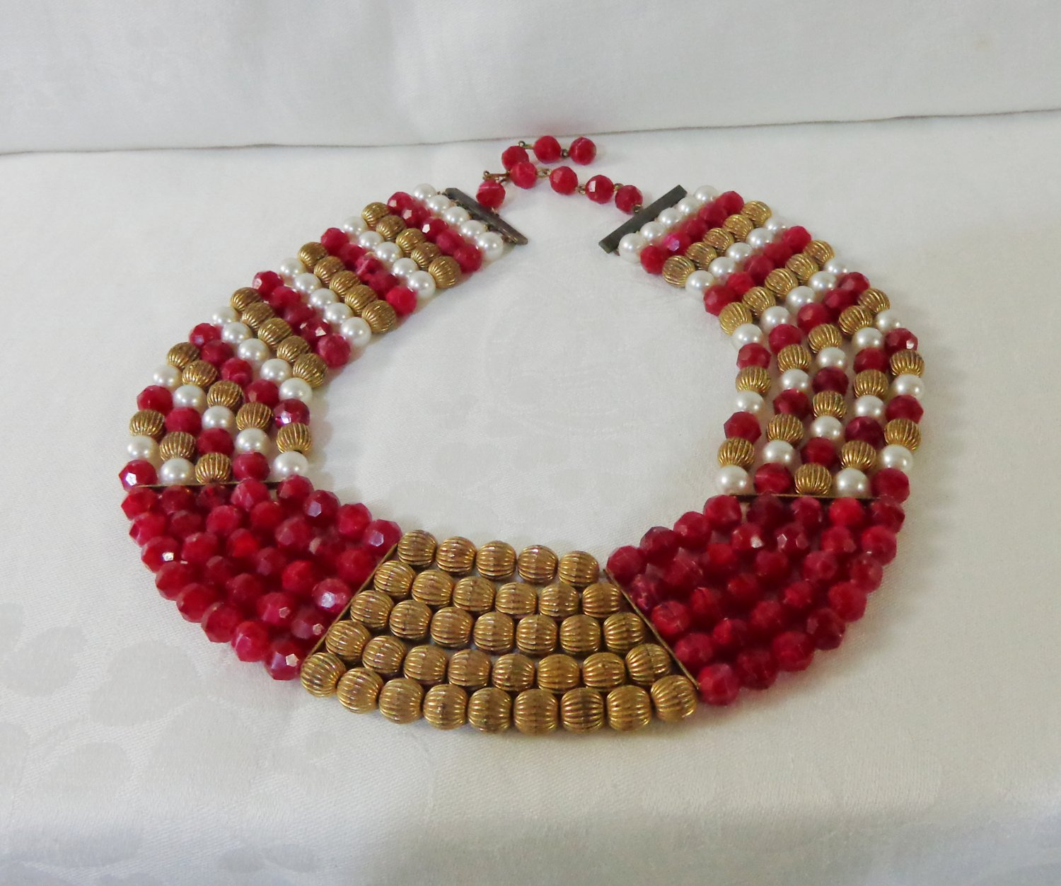 5 Strand gold and red bead necklace filler extender chain vintage ll3355