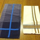 2 Men's vintage cotton handkerchiefs cream and pin stripe ll3357