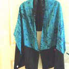 Lined Chinese silk charmeuse stole turquoise black frog pockets hand washable ll3363