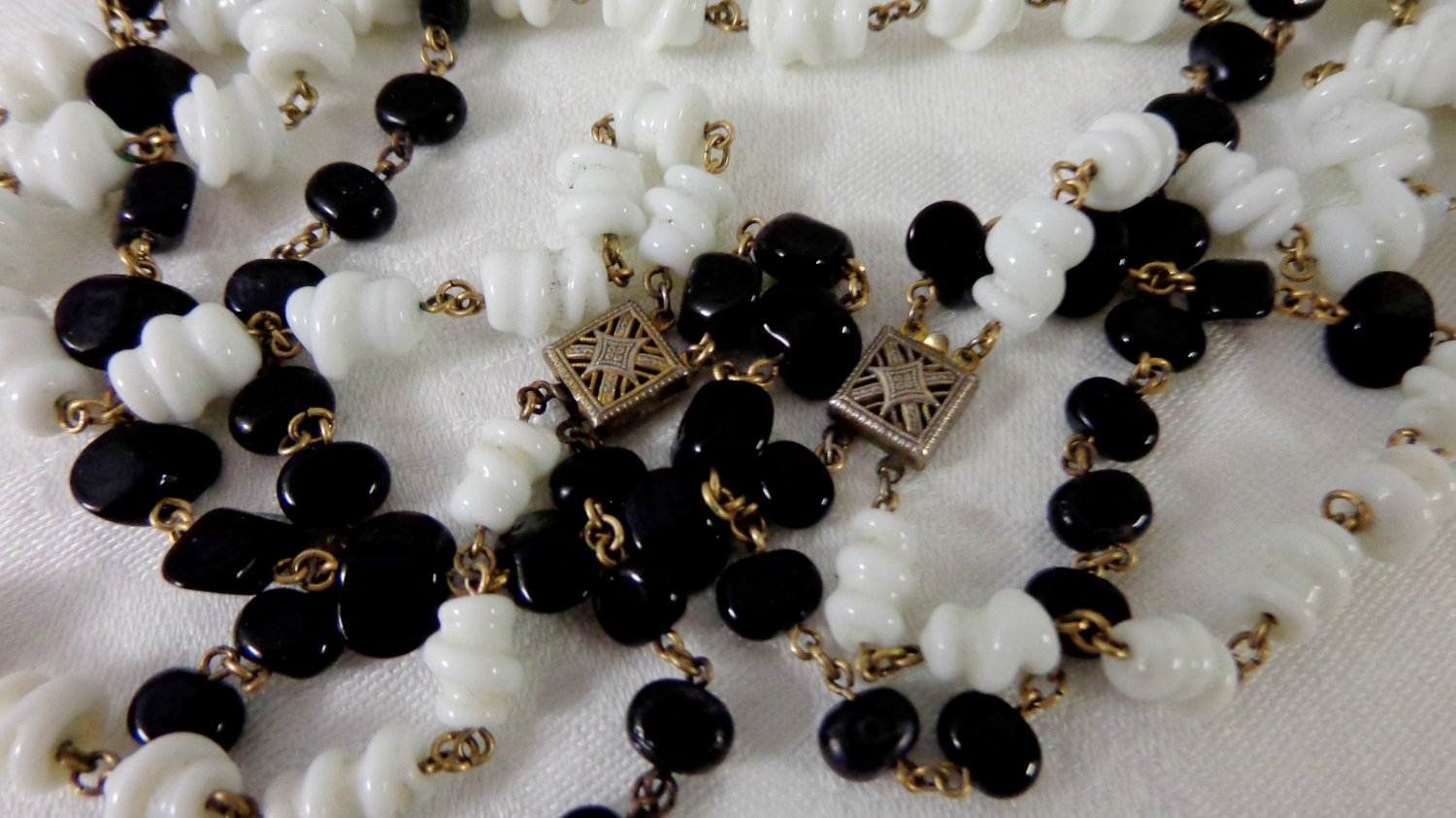 2 Black and white double strand necklaces glass beads sterling clasps Art Deco vintage ll3366