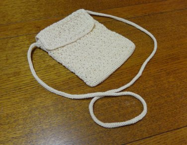 Croft and Barrow crocheted shoulder bag purse ivory small as new vintage l3370