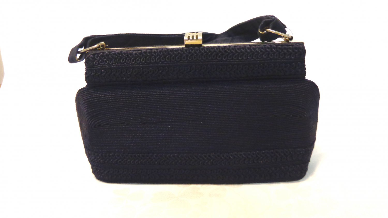 Park Lane corde dressy navy handbag Art Deco vintage fashion accessories ll2103