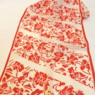 Honey scarf red on white floral long silk blend ll3385