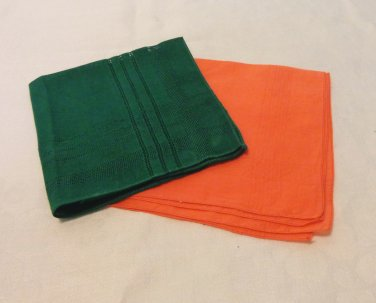 2 Bright linen hankies handkerchief green orange threadwork vintage ll3386