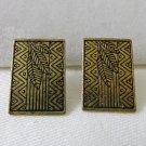 Coldwater Creek zig zag leaf etched bronze tone pierced earrings rectuangles new on card ll3391
