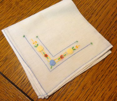 2 Antique ladies or girls embroidered linen hankies sweet small ll3397