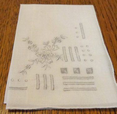 Antique ladies Madeira embroidered linen hanky for weddings or to tuck in purse ll3399