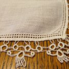 White linen hanky threadwork tatted edge for weddings or tuck in purse ll3401