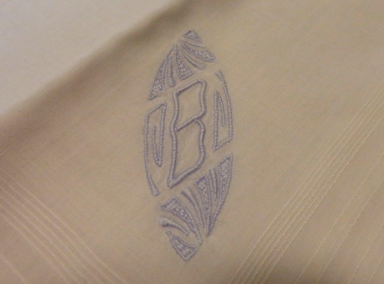 Man's white cotton handkerchief blue monogram B rolled hem ll3402