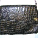 Alessandni faux alligator brown handbag purse chain strap excellent vintage ll1502
