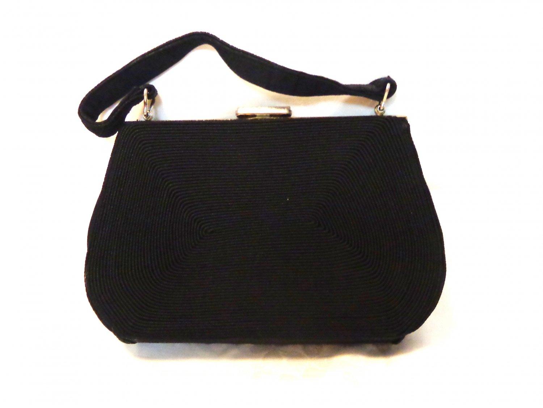 Gold Seal corde dressy black handbag Art Deco vintage ll3417