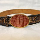 Hand tooled floral leather belt red rhinestone buckle 28-32 inches vintage ll3428