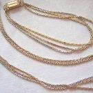 Avon demi-Parure 3 strand 2-tone chain necklace bracelet vintage jewelry ll2058