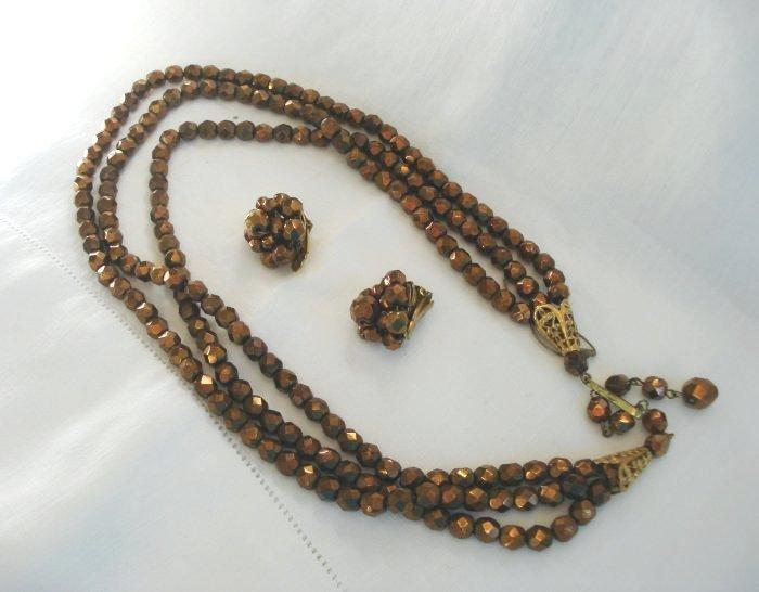 Demi Parure 3 strand copper glass jet bead necklace earrings Vintage jewelry ll2061