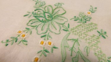 Green embroidery on white linen hanky hand rolled unused vintage ll3452