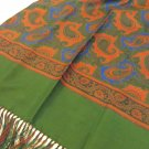 Forsythe double thick silk coat scarf paisley fringe men unisex vintage ll3465