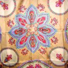 Large Polyester scarf bold paisley brown border vintage ll1881