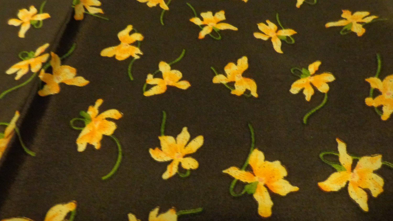Pink violets on brown silk scarf rolled hem vintage ll3475