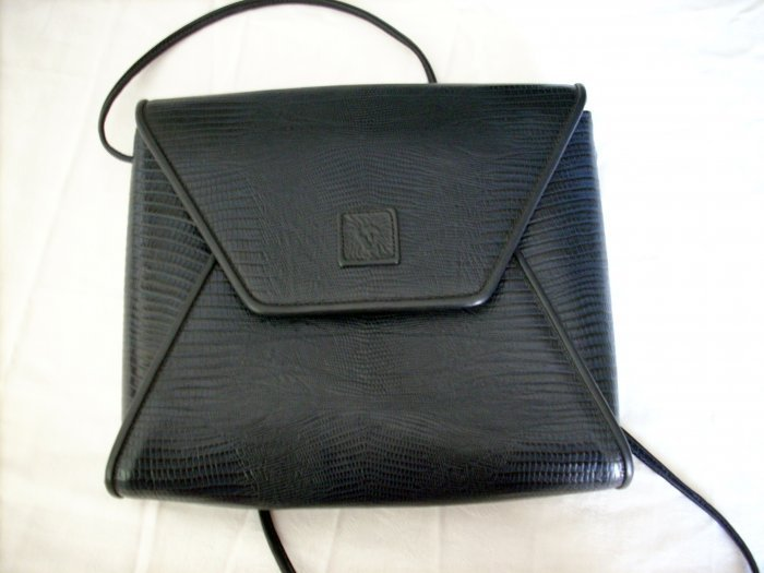 Anne Klein for Calderon alligator stamped black leather shoulder bag purse as new ll1087