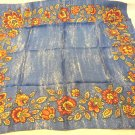 Cobalt blue with floral border acetate square scarf vintage great  ll3479