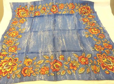 Cobalt blue with floral border acetate square scarf vintage great  ll3479