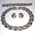 3 Piece Parure bold silvery links necklace bracelet earrings retro vintage ll1905