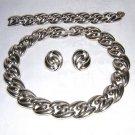 3 Piece Parure bold silvery links necklace bracelet earrings retro vintage ll1905