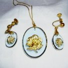 Clear blue lucite demi Parure pendant earrings gold roses vintage jewelry ll2056